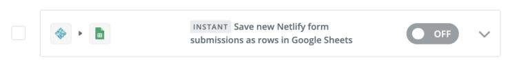 Zapier のダッシュボードに追加された Netlify とスプレッドシートの連携の Zap