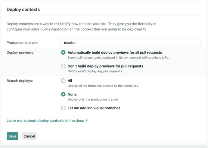 Deploy contextsの設定画面の画像