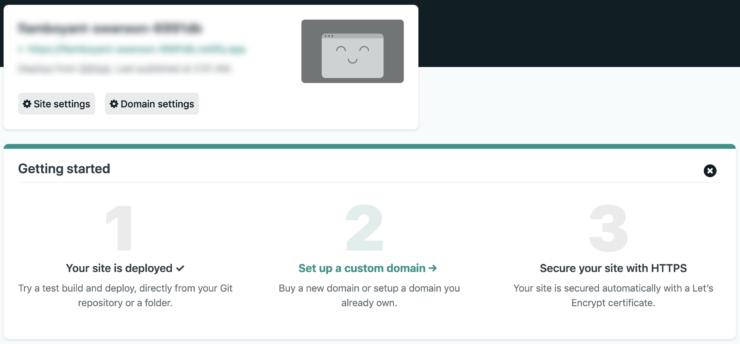 Deploy site を選択した後の画面のキャプチャ