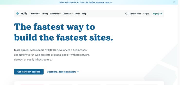 Netlifyの公式サイトのキャプチャ画像