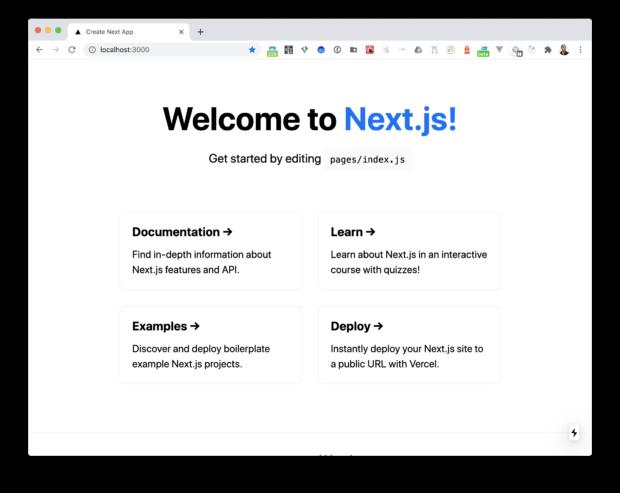 Next.js を実行したトップページのスクリーンショット