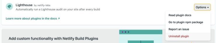 プラグイン一覧画面の Lighthouse プラグインの Unstall plugin ボタンを選択している状態のキャプチャ画像