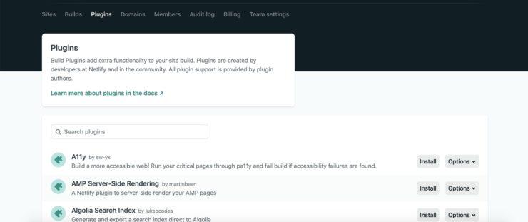 Netlify の管理画面で Plugins タブを開いた状態のキャプチャ画像