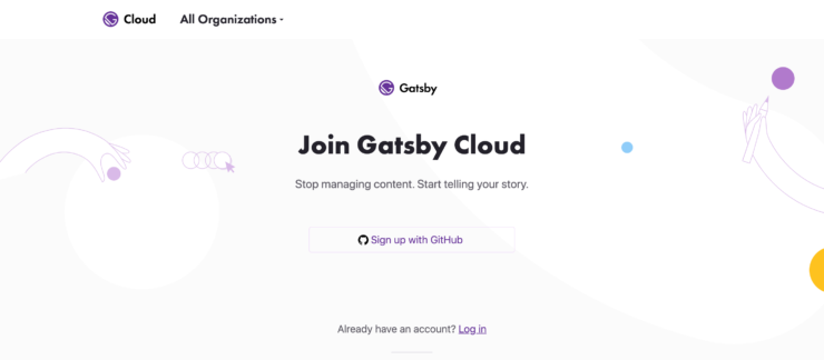 Gatsby Cloud の Sign up 画面のキャプチャ画像